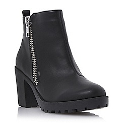Head Over Heels by Dune - Black side zip heeled ankle boot