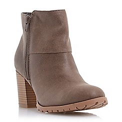 Head Over Heels by Dune - Neutral cleated sole block heel boot