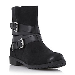 Head Over Heels by Dune - Black 'Reenan' double buckle wrap ankle boot