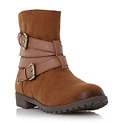 Head Over Heels by Dune - Tan 'Reenan' double buckle wrap ankle boot