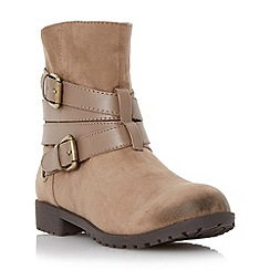 Head Over Heels by Dune - Taupe 'Reenan' double buckle wrap ankle boot