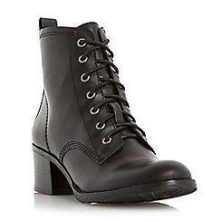 Head Over Heels by Dune - Black 'Peppo' lace up block heel boot