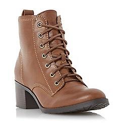 Head Over Heels by Dune - Tan 'Peppo' lace up block heel boot