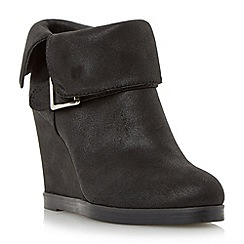 Head Over Heels by Dune - Black 'Pindar' fold down wedge heel ankle boot