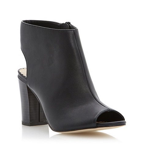 Head Over Heels by Dune - Black peep toe and cutout heeled boot