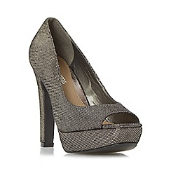Head Over Heels by Dune - Silver 'Cadenza' peep toe platform court shoe