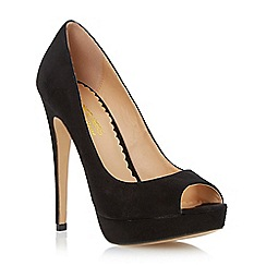 Head Over Heels by Dune - Black peep toe platform stiletto heel court shoe