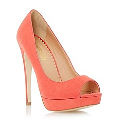 Head Over Heels by Dune - Red peep toe platform stiletto heel court shoe