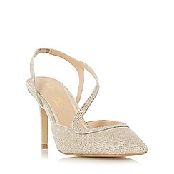Head Over Heels by Dune - Gold 'Cherie' asymmetric strap pointed toe court shoe