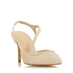 Head Over Heels by Dune - Natural 'Cherie' asymmetric strap pointed toe court shoe