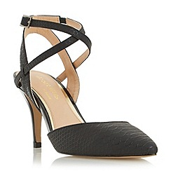 Head Over Heels by Dune - Black 'Celina' snake print two part court shoe