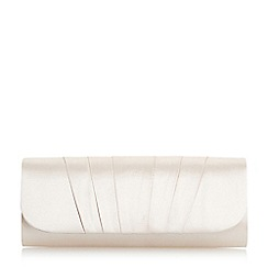 Roland Cartier - Light gold 'Bergenia' satin flap clutch bag
