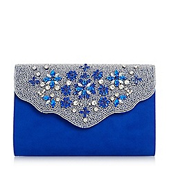 Roland Cartier - Blue 'Bintory' embellished flap clutch bag