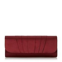 Roland Cartier - Maroon 'Breslin' pleated satin clutch bag