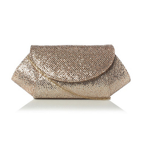 Roland Cartier - Gold-glitter +mesh+ fabric clutch