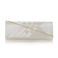 Roland Cartier - Ivory satin interwoven clutch bag