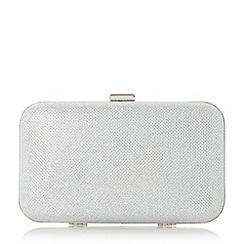 Roland Cartier - Silver 'Benitto' lurex hard case box frame clutch