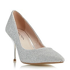 Roland Cartier - Silver 'Baroness' glitter pointed toe court shoe
