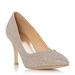 Roland Cartier - Gold 'Brylie' mid heel sweetheart cut court shoe