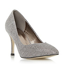 Roland Cartier - Silver 'Brylie' mid heel sweetheart cut court shoe