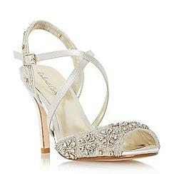 Roland Cartier - Ivory 'Mintory' embellished cross strap high heel sandal