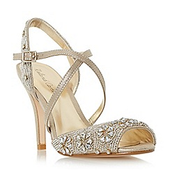 Roland Cartier - Gold 'Mintory' embellished cross strap high heel sandal