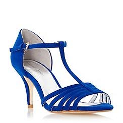 Roland Cartier - Blue 'Malabu' t-bar strappy mid heel sandal