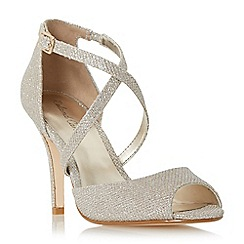 Roland Cartier - Gold 'Morla' peep toe cross over strap heeled sandal