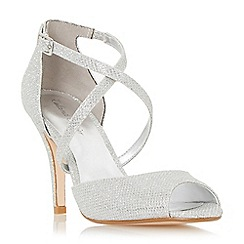 Roland Cartier - Silver 'Morla' peep toe cross over strap heeled sandal