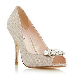 Roland Cartier - Gold 'Darlie' jewel trim peep toe high heel court shoe