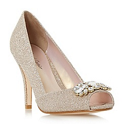 Roland Cartier - Gold 'Darline' jewel peep toe high heel court shoe