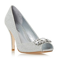 Roland Cartier - Silver 'Darline' jewel peep toe high heel court shoe
