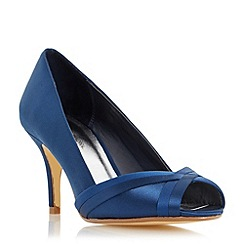 Roland Cartier - Navy 'Daylie' satin weave peep toe court shoe