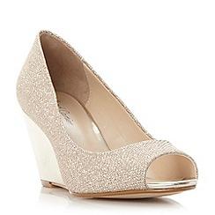 Roland Cartier - Gold 'Diann' peep toewedge court shoe