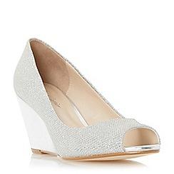Roland Cartier - Silver 'Diann' peep toewedge court shoe