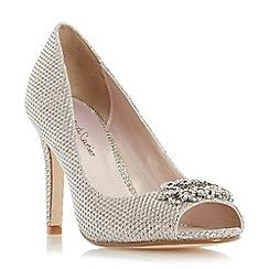 Roland Cartier - Gold 'Deena' peep toe brooch detail court shoe
