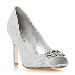 Roland Cartier - Silver 'Deena' peep toe brooch detail court shoe