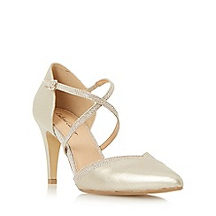 Head Over Heels by Dune - Gold 'Dila' cross strap two part court shoe