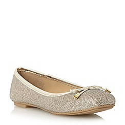 Roberto Vianni - Metallic square toe bow trim ballerina