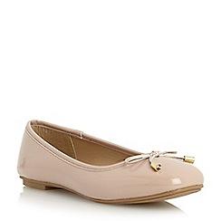 Roberto Vianni - Neutral square toe bow trim ballerina shoe