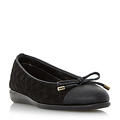 Roberto Vianni - Black 'Hurling' comfort quilted bow trim ballerina pump