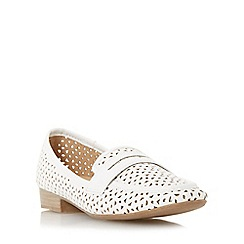 Roberto Vianni - White 'Gamble' penny saddle laser cut loafer