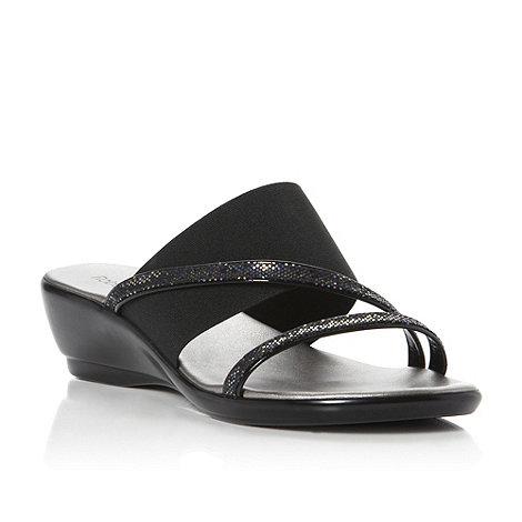 Roberto Vianni - Black-fabric +Giovanna+ glitter wedge heel sandal