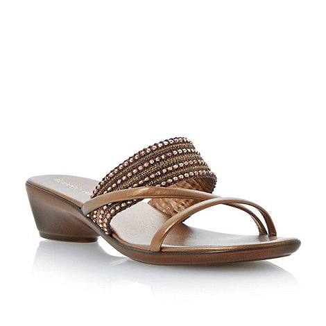 Roberto Vianni - Bronze beaded strap low wedge sandal