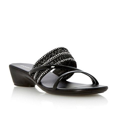 Roberto Vianni - Black beaded strap low wedge sandal
