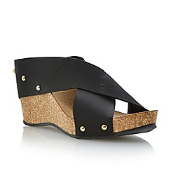 Roberto Vianni - Black elastic strap wedge sandal