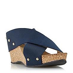 Roberto Vianni - Navy 'Geordie' elastic strap wedge sandal