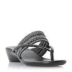 Roberto Vianni - Black 'Keveen' toe post beaded wedge sandal