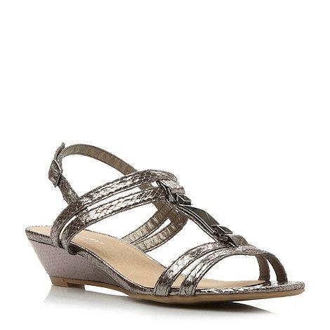 Roberto Vianni - Pewter metal trim reptile print t-bar sandal