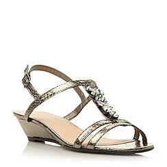 Roberto Vianni - Metallic t-bar jewel trim low wedge sandal